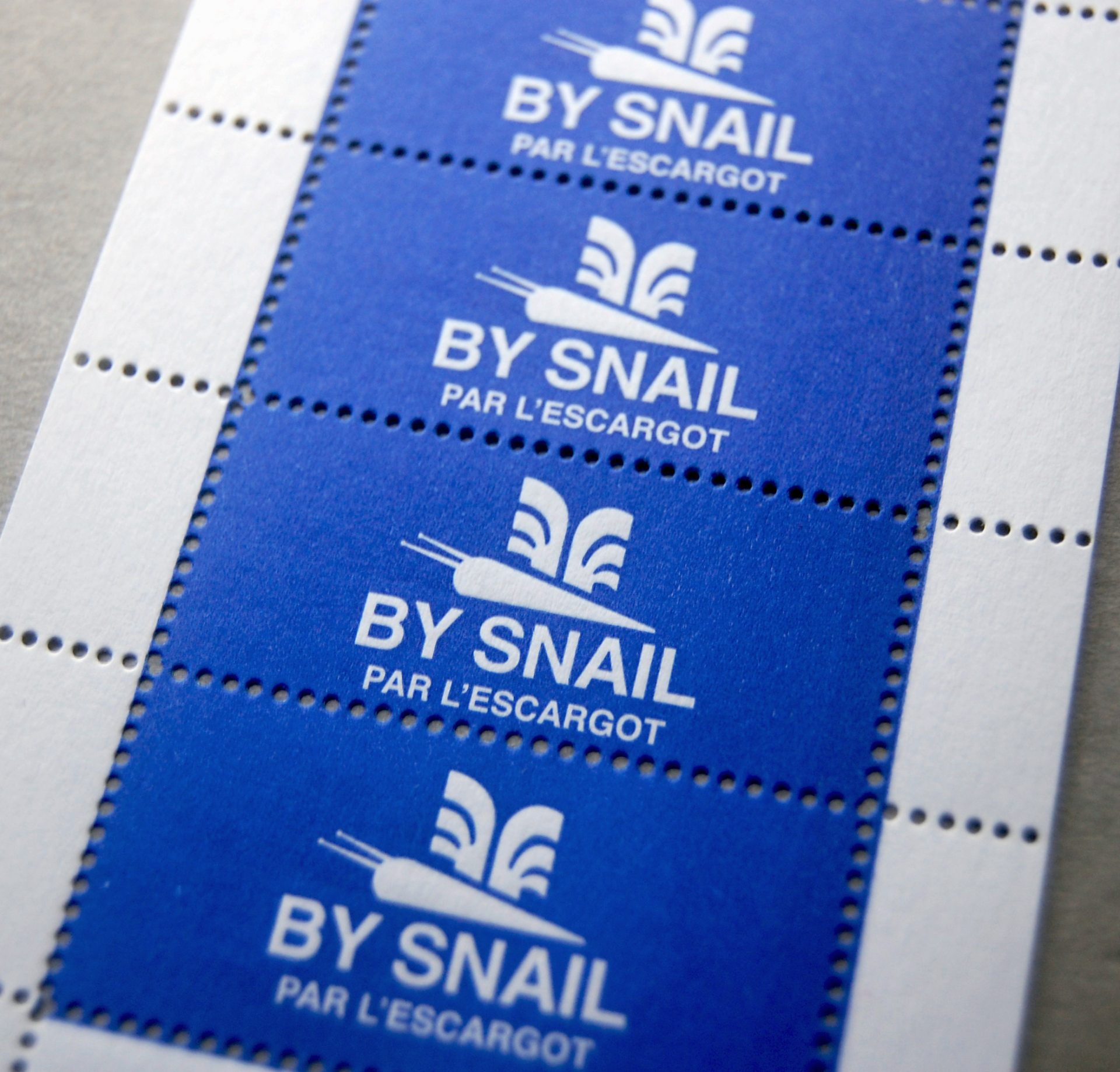 By snail stamps