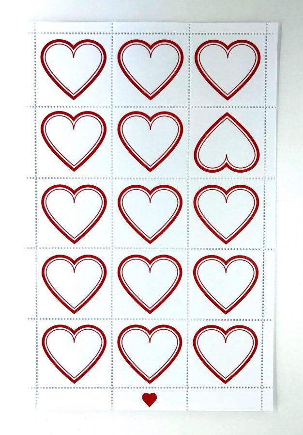 letterpress heart stamps