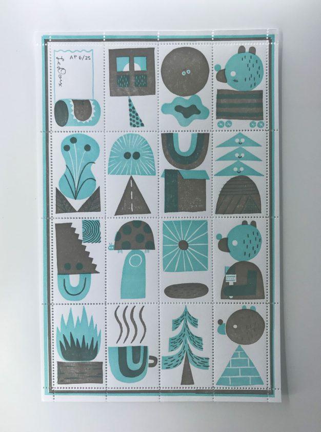 jesse ledoux two color letterpress stamps