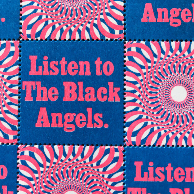 Black Angel risograph stamps for End of an Ear 15th anniversary series