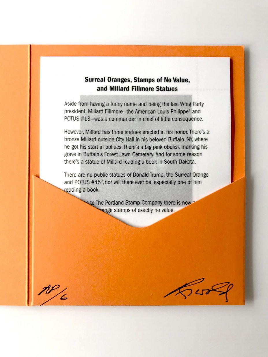 jim riswold the surreal orange stamp folio wit printed vellum sheet