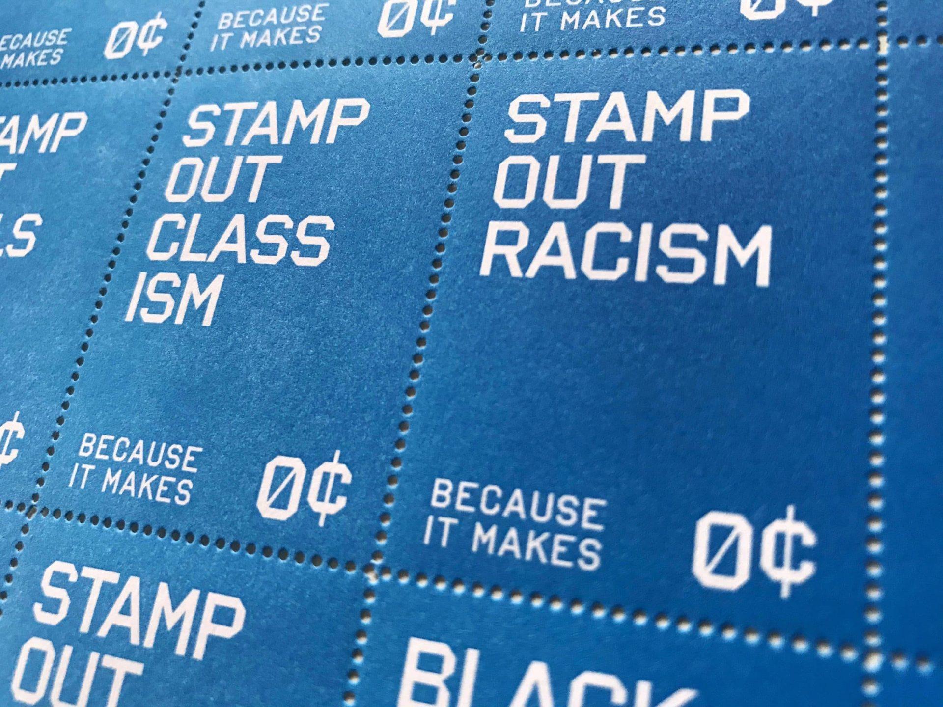 stamp out racism tre seals letterpress stamps