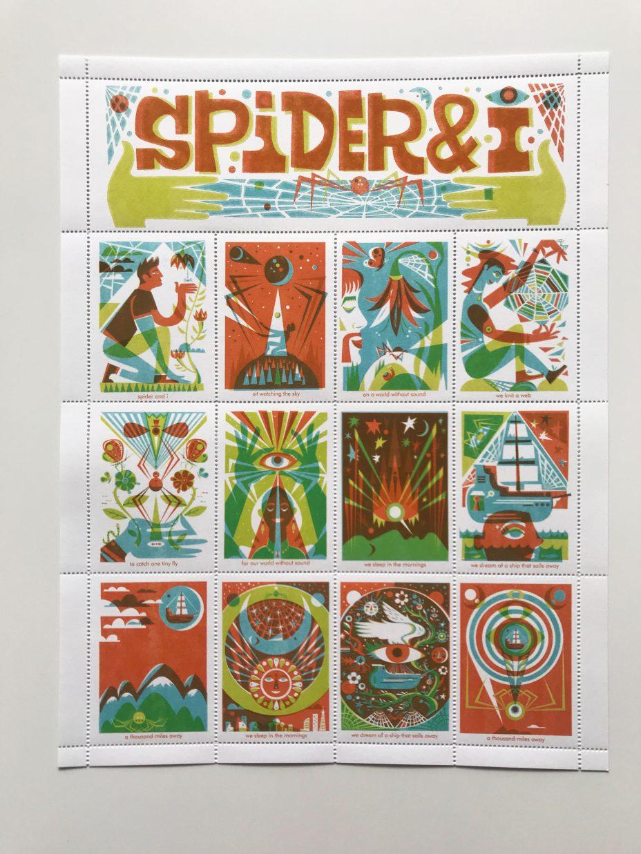 michael wertz spider and i artistamp full sheet