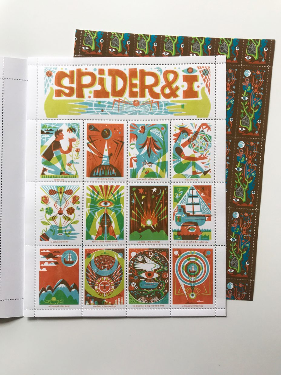 michael wertz spider and i artistamp two full sheets